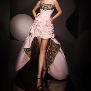 Tony Bowls Cheetah Print and Blush Gown